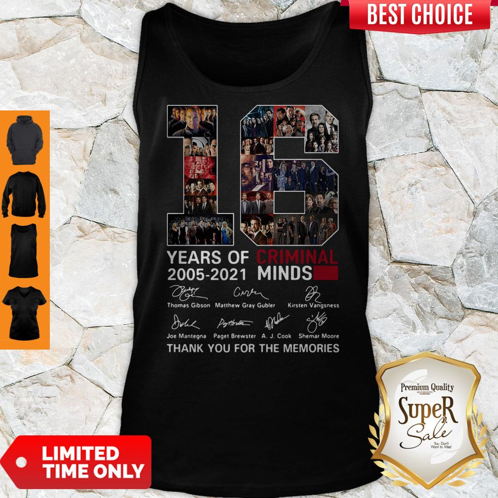 16 Years Of Criminal Minds 2005 2021 Thank You For The Memories Tank Top