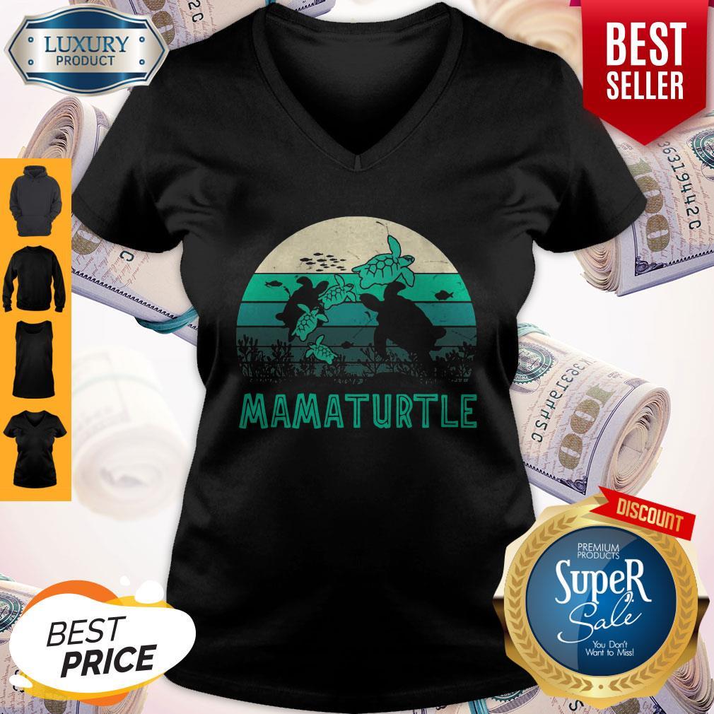 Awesome Mamaturtle Sea Turtle Vintage Version V-neck