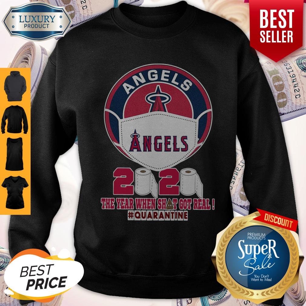 Los Angeles Angels Face Mask 2020 The Year When Shit Got Real Quarantine Sweatshirt