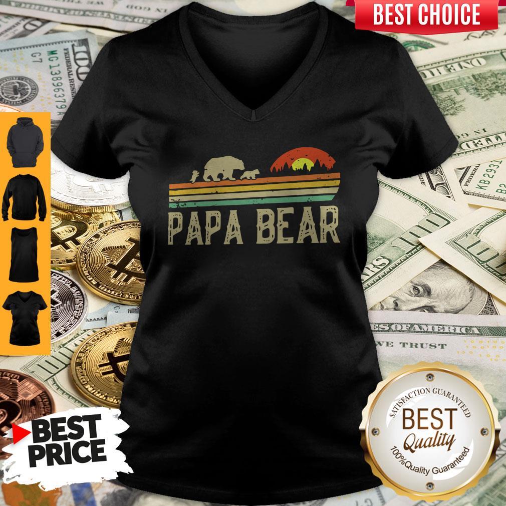 Nice Papa Bear Fathers Day V-neck