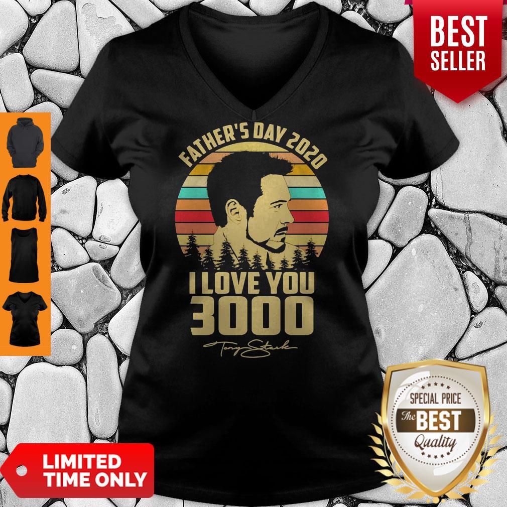 Tony Stank Father's Day 2020 I Love You 3000 Signature Vintage V-neck