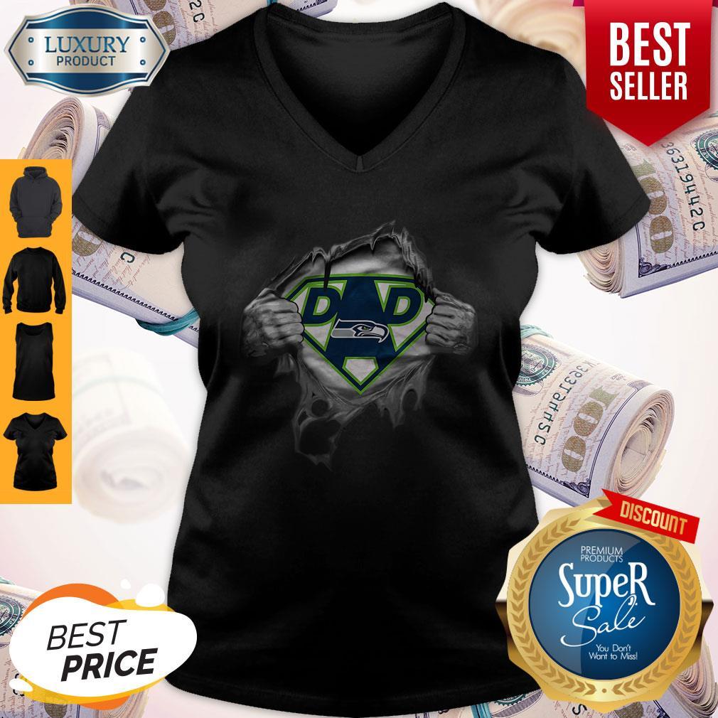 Top Blood Inside Me Dad Seattle Seahawks Logo V-neck
