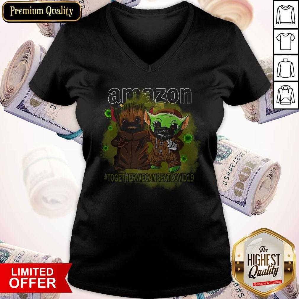 Baby Groot And Baby Yoda Face Mask Star Wars Darth Vader Amazon Together We Can Beat Covid 19 V- neck