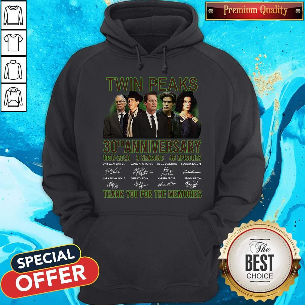 Twin Peaks 30th Anniversary 1990 2020 3 Seasons 48 Episodes Thank You For The Memories Signatures Hoodiea