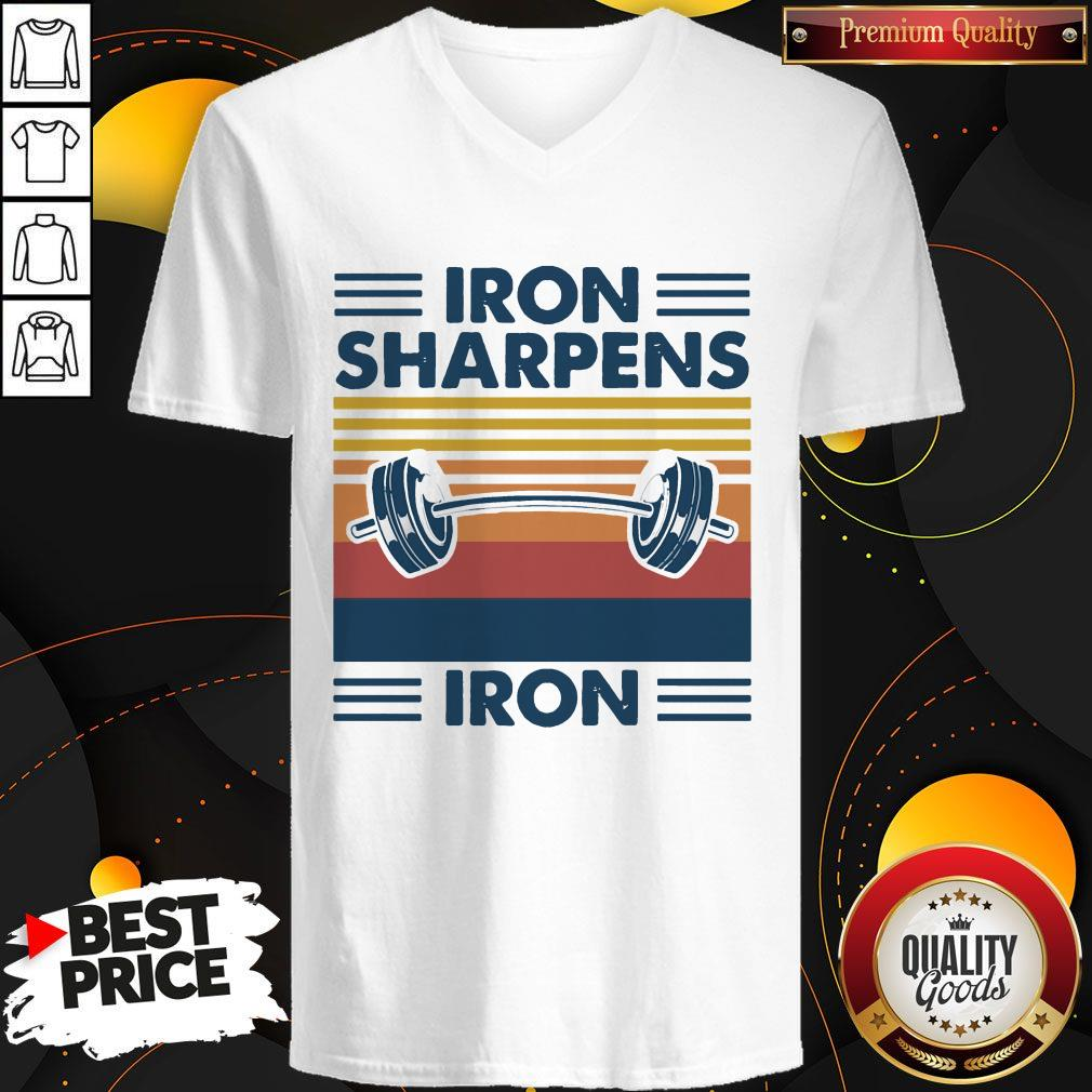 Weight Lifting Iron Sharpens Iron Vintage  V- neck