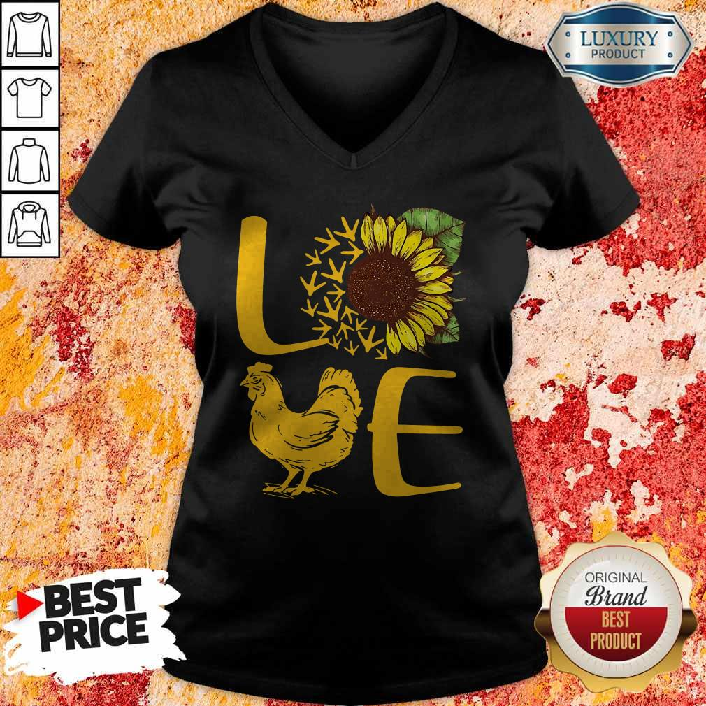 Awesome Love Sunflower Chicken Tee V- neck