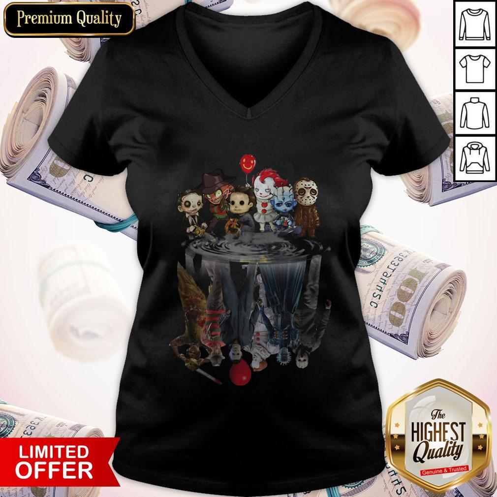 Horror Characters Movies Water Mirror Reflection Halloween V- neck