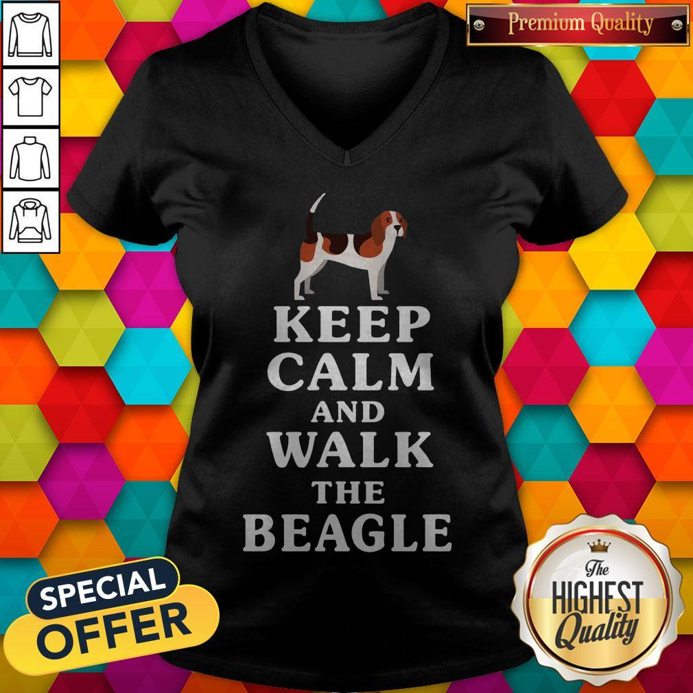 Top Keep Calm And Walk The Beagle V- neck