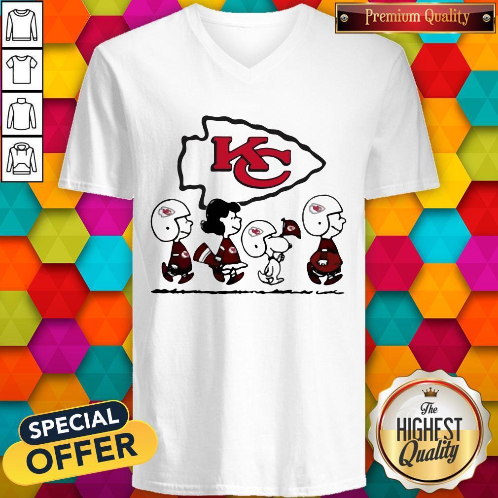 Peanuts Characters Kansas City Chiefs V- neck