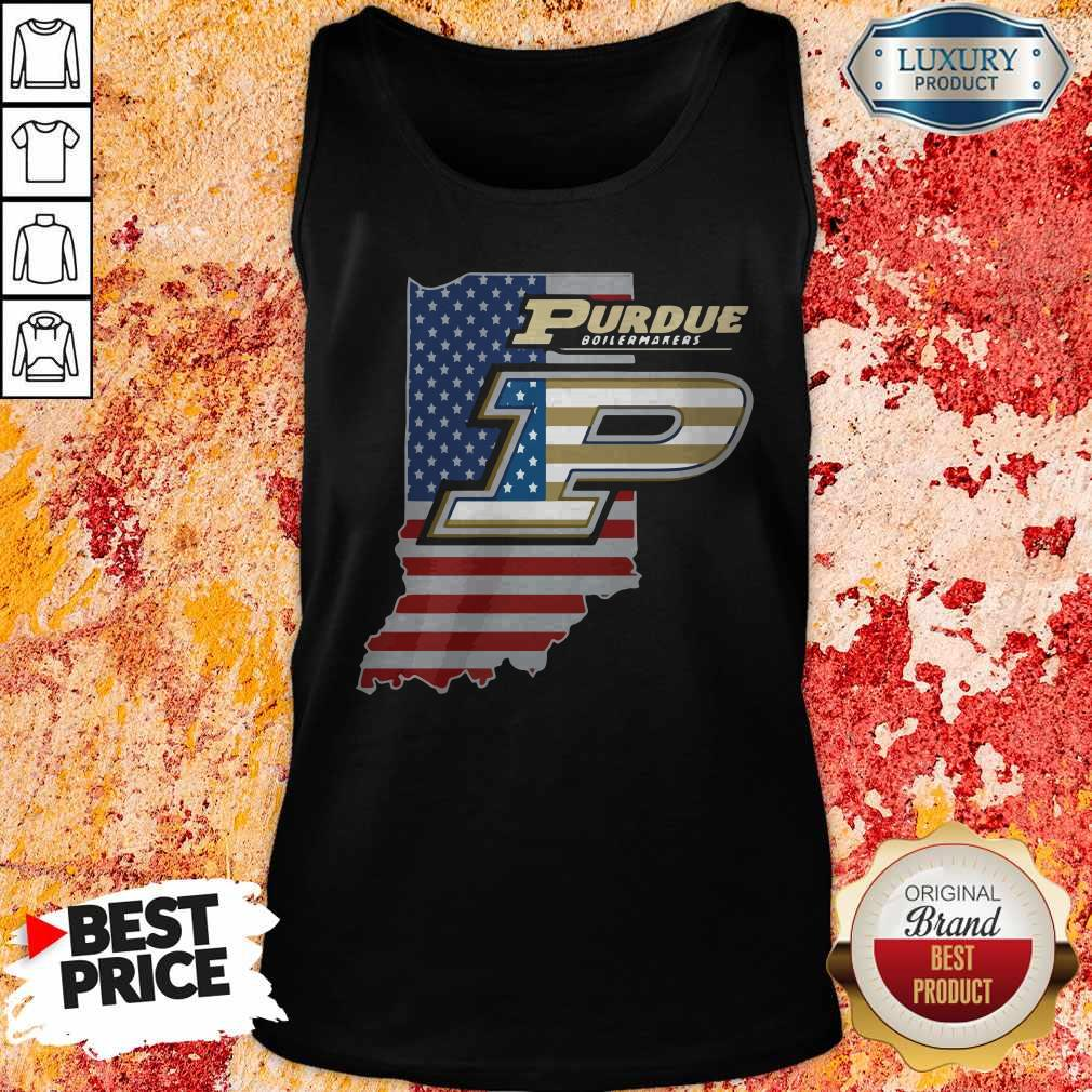 Purdue Boilermakers American Flag Tank Top
