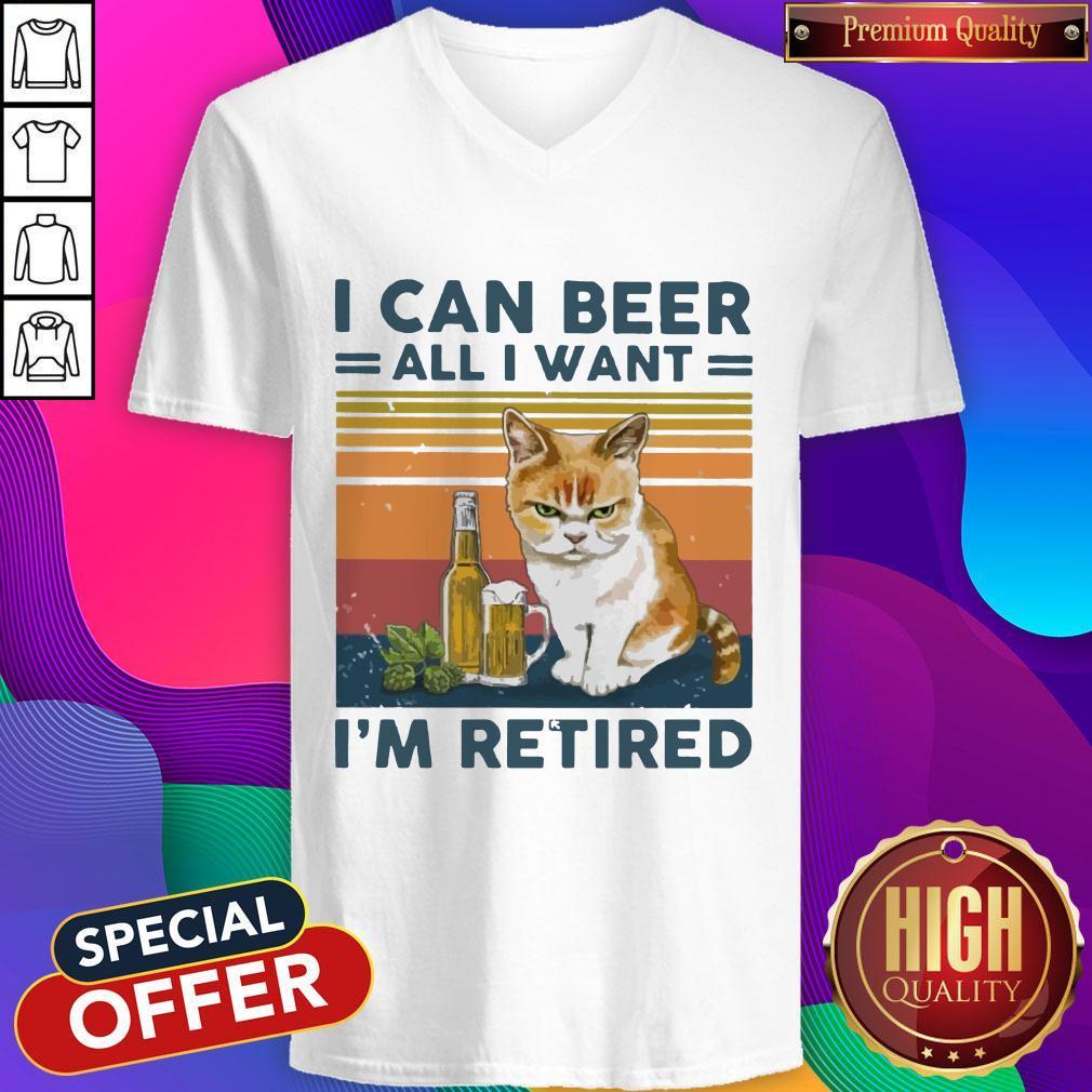 Top Cat I Can Beer All I Want I'm Retired Vintage   V- neck