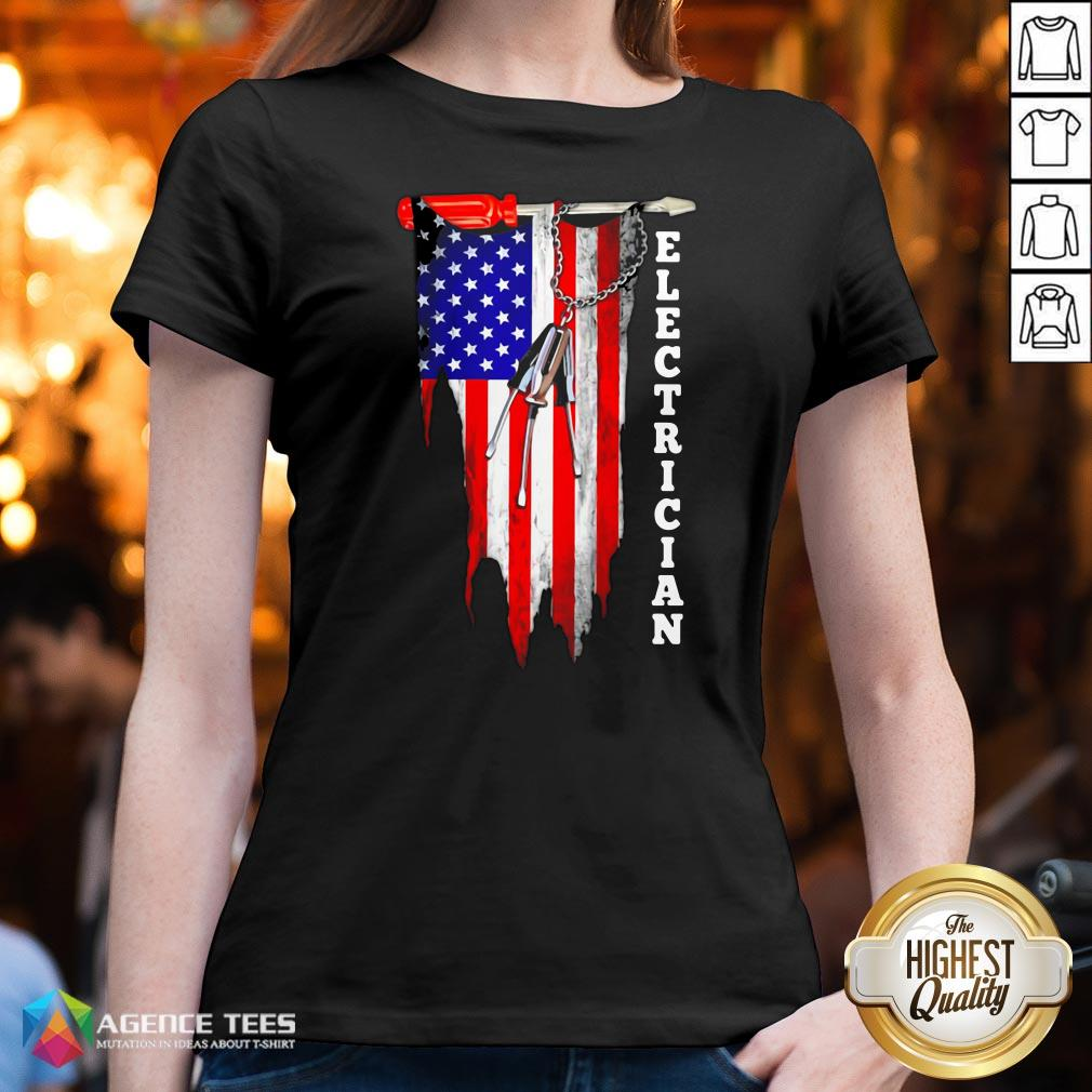 Funny Electrician American Flag Vintage V-neck Design By Agencet.com
