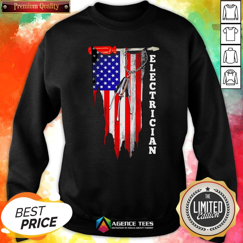 Funny Electrician American Flag Vintage Sweatshirt Design By Agencet.com