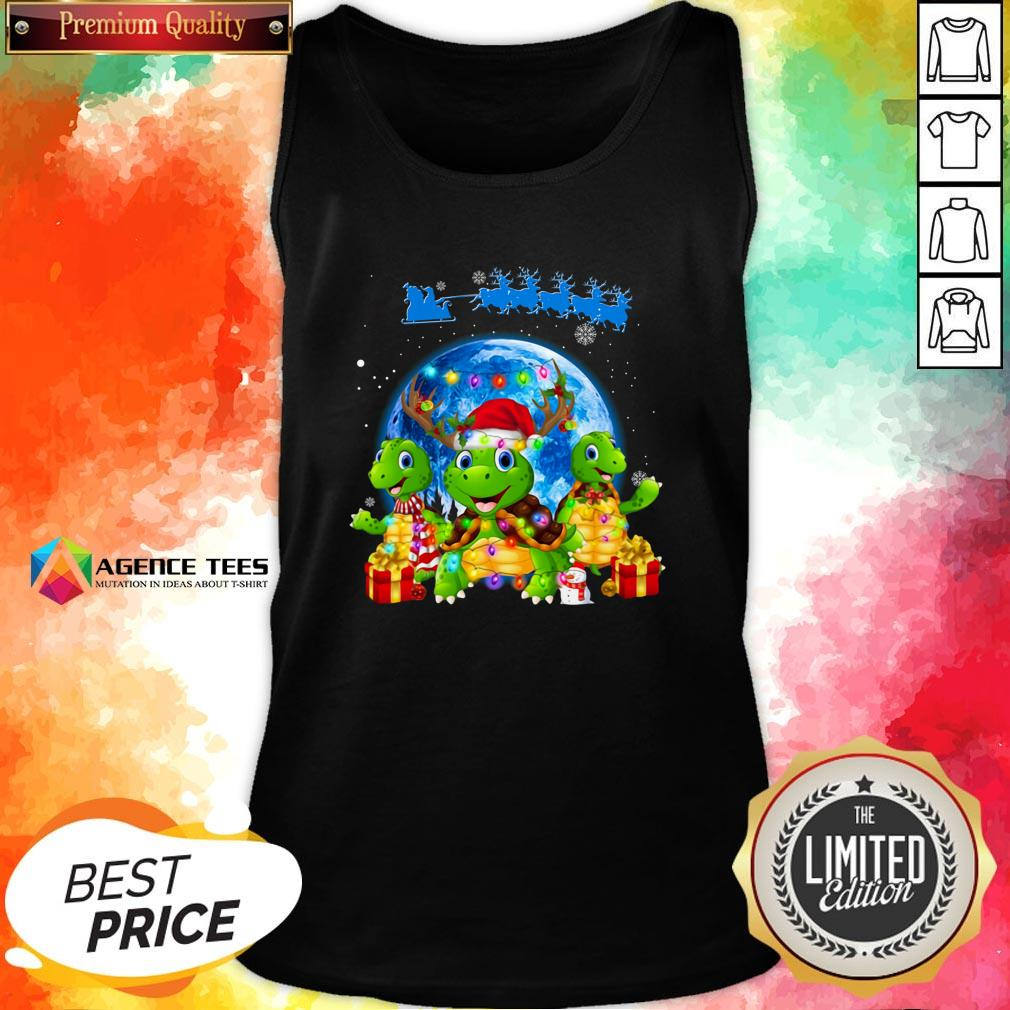 Funny Turtles Merry Christmas Tank Top Design By Agencet.com