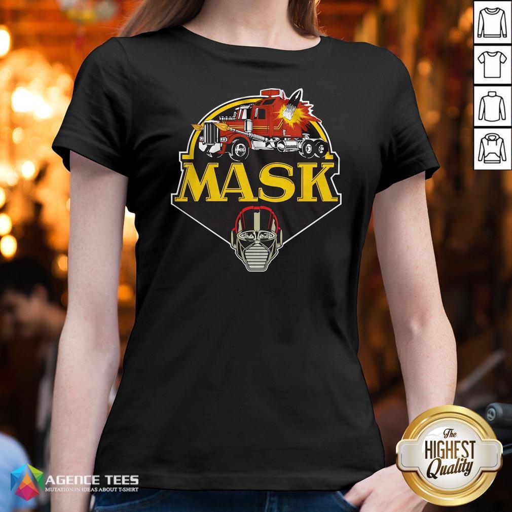 Funny Urban Backwoods Mask Vintage Logo V-neck Design By Agencet.com