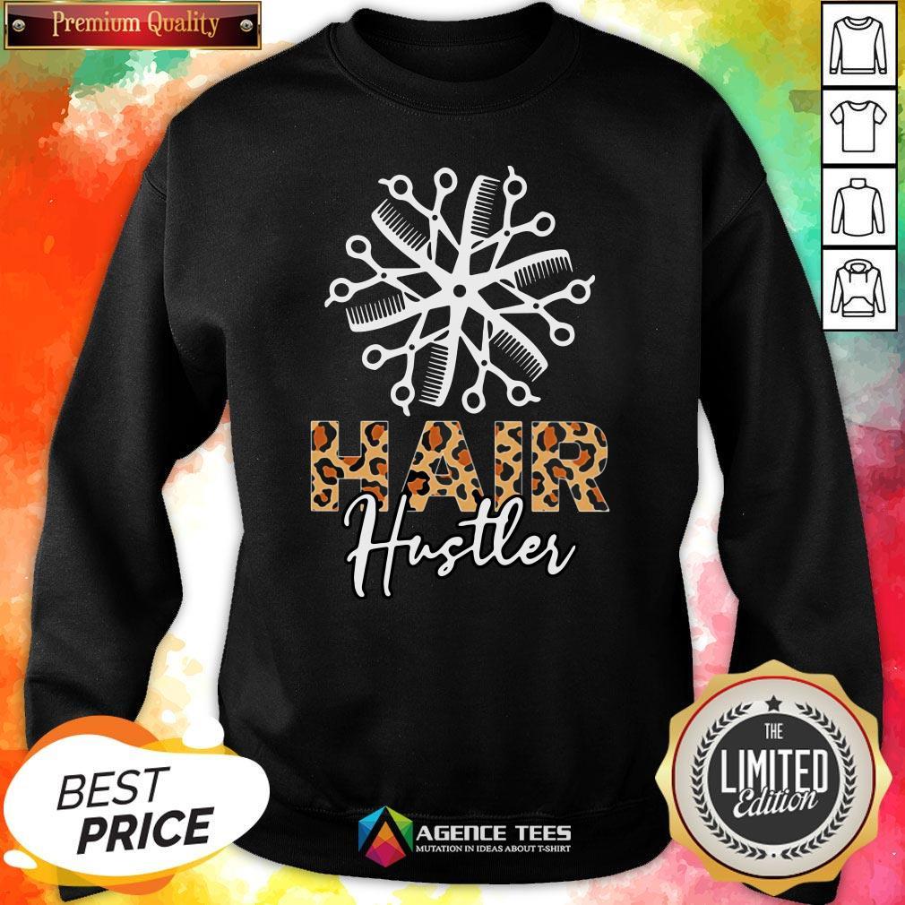 Nice Hair Hustler Leopard Vintage Sweatshirt Design By Agencet.com