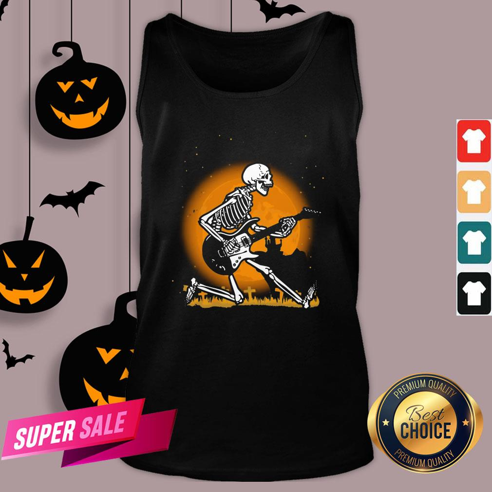 Nice Skeleton Guitar Happy Halloween Tank Top Design By Agencet.com