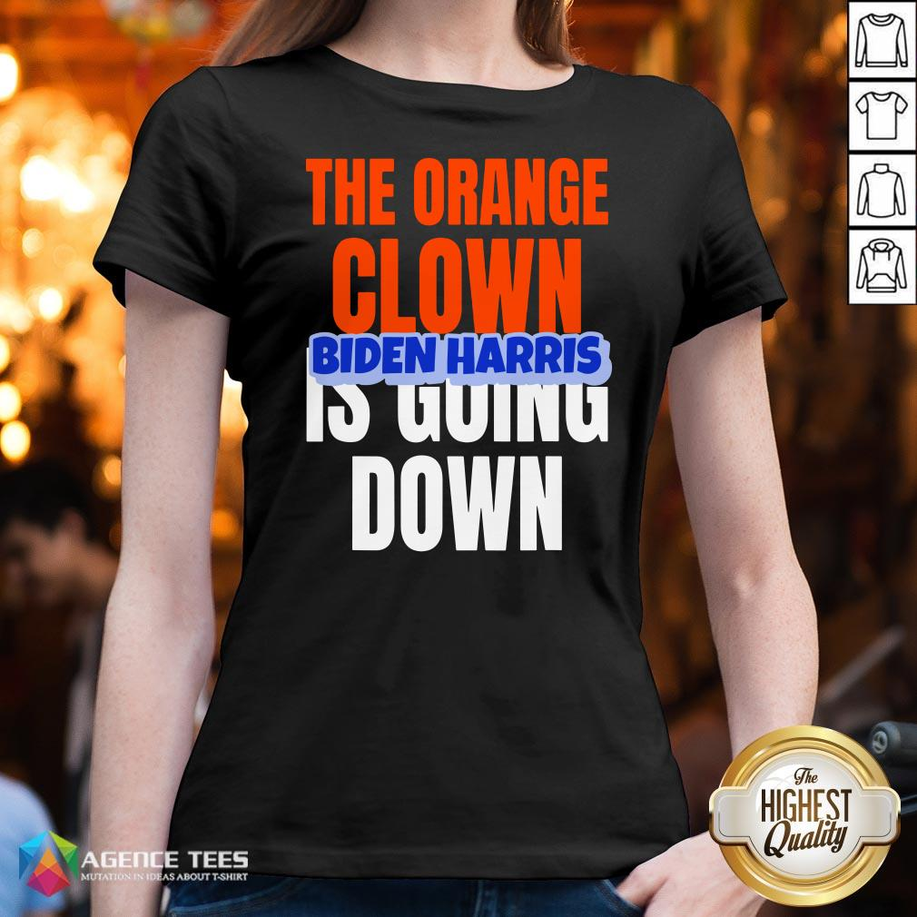 Nice The Orange Clown Is Going Down Biden Harris V-neck Design By Agencet.com