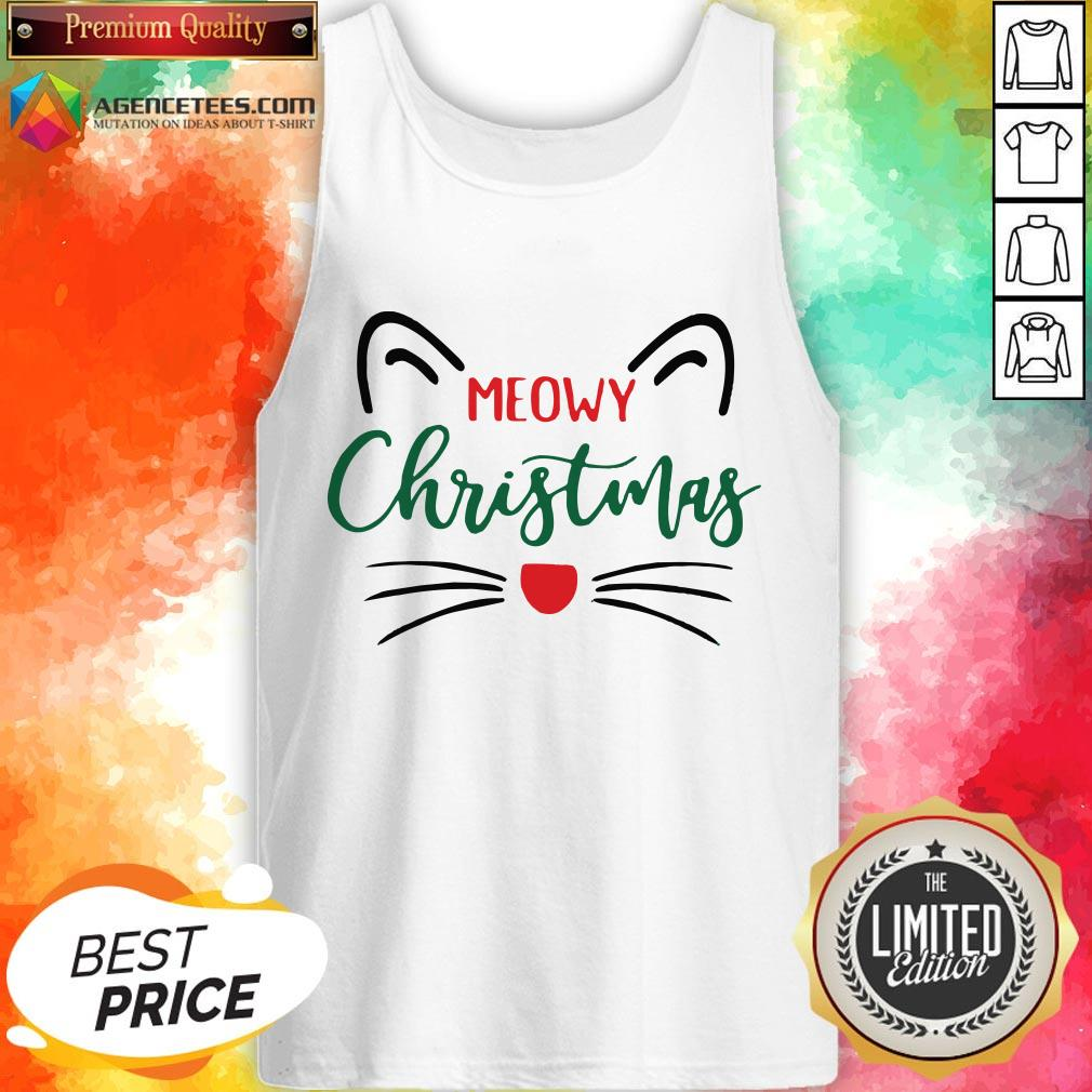 Premium Meowy Christmas Tank Top Design By Agencet.com