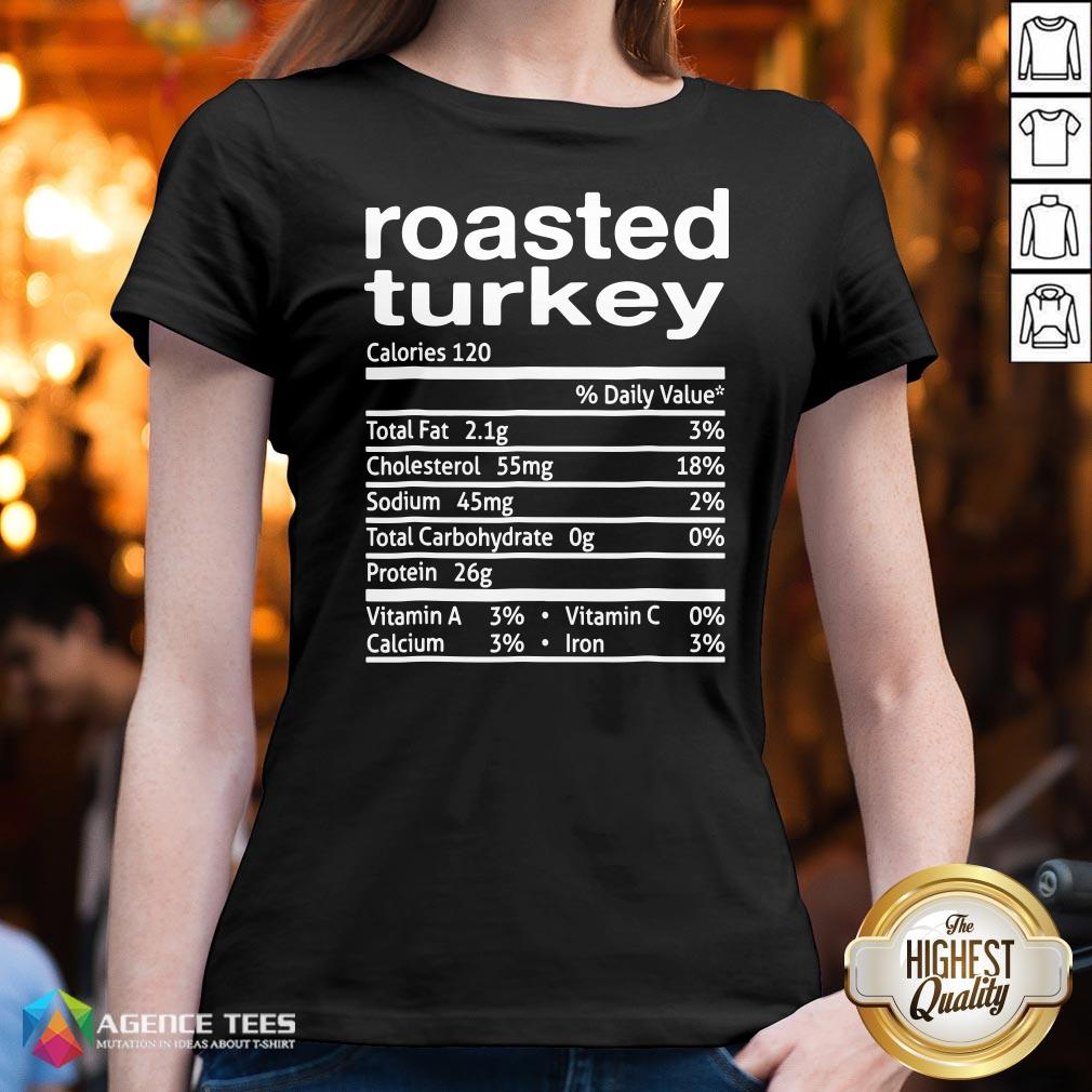 Top Roasted Turkey Nutrition Facts 2020 Thanksgiving Christmas V-neck Design By Agencet.com