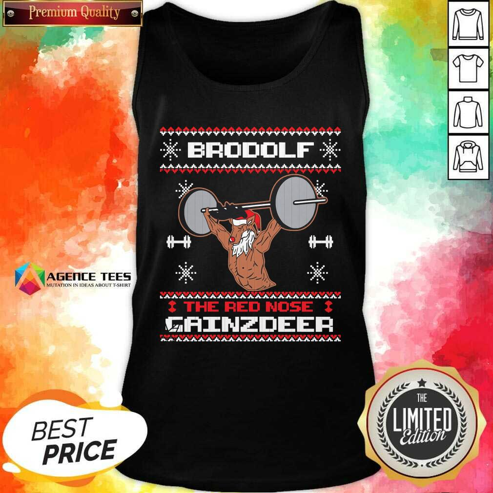 Official Brodolf The Red Nose Gainzdeer Ugly Christmas Tank Top - Design By Agencetees.com
