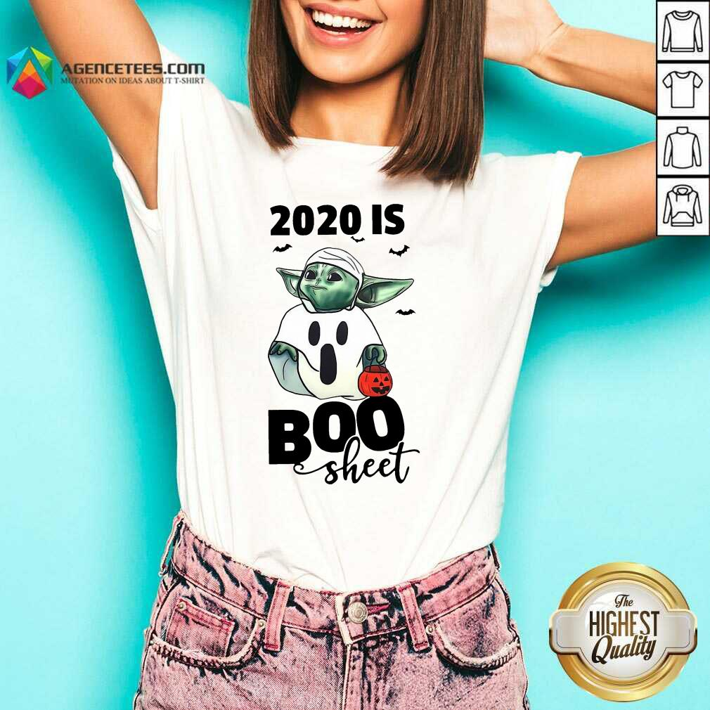 Premium Baby Yoda Ghost 2020 Is Boo Sheet V-neck - Design By Agencetees.com