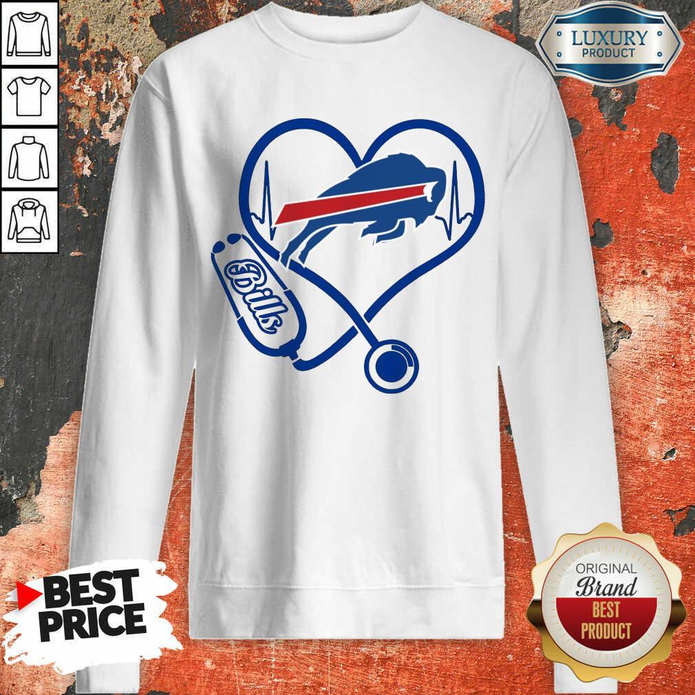 Amused Buffalo Bills Nurse 1 Heart Sweatshirt - Design by Agencetees.com