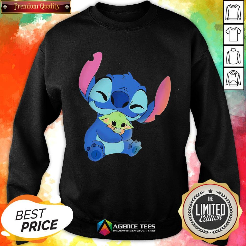 Awesome Baby Stitch Hug Baby Yoda Sweartshirt - Design By Agencetees.com