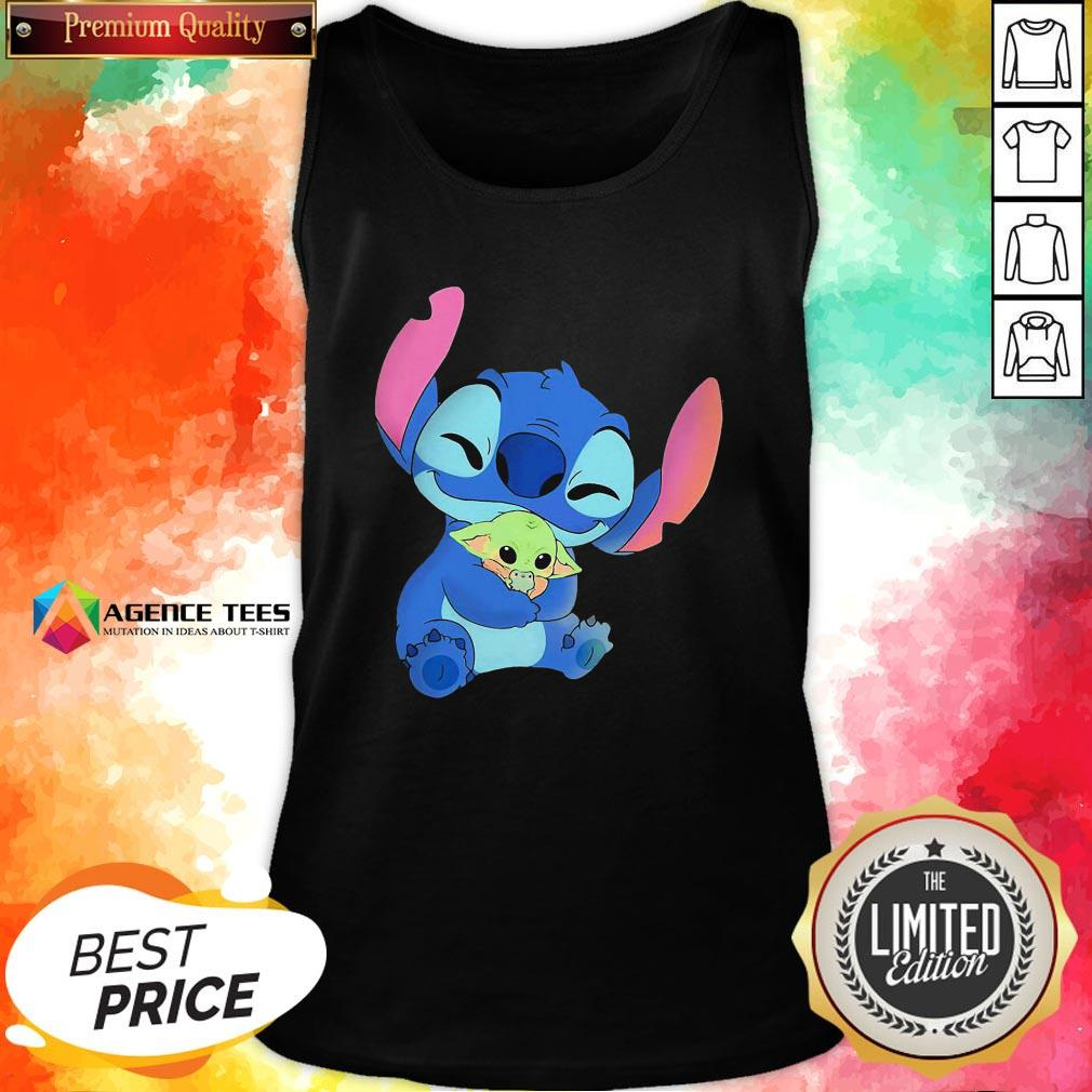 Awesome Baby Stitch Hug Baby Yoda Tank Top - Design By Agencetees.com