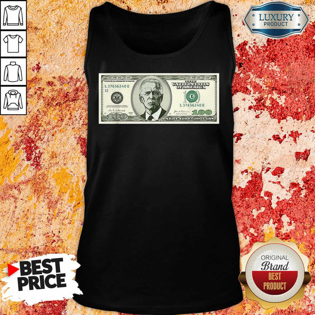 Irritated Joe Biden On A 100 Dollars Tank Top - Design by Agencetees.com