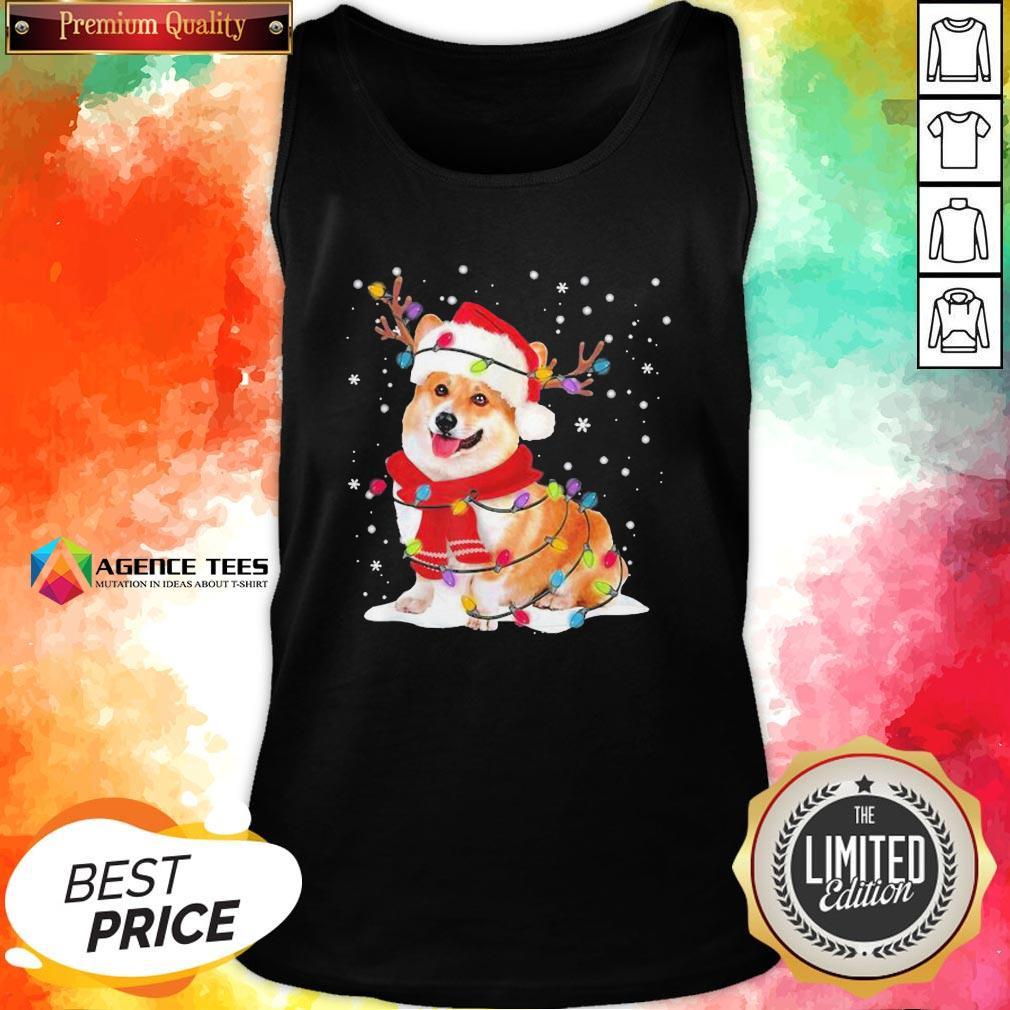 Nice Christmas Corgi Reindeer Lights Pajama Tank Top - Design By Agencetees.com