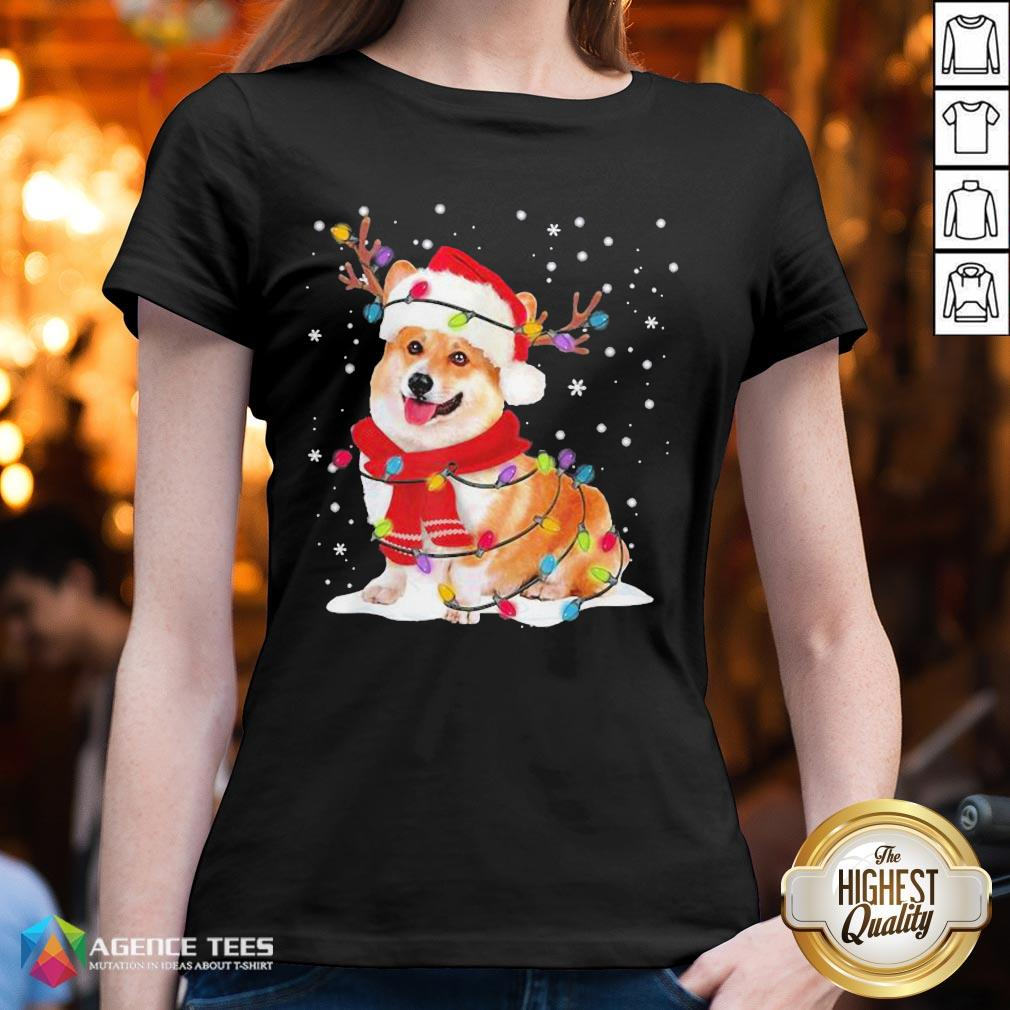 Nice Christmas Corgi Reindeer Lights Pajama V-neck - Design By Agencetees.com