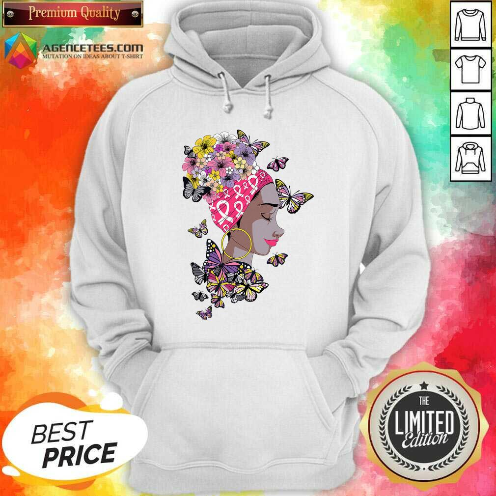 Top Breast Cancer Awareness Pink Ribbon Black Afro Women Butterflies And Flowers Hoodie - Design By Agencetees.com