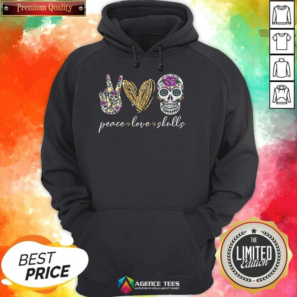 Hot Peace Love And Skulls Diamond Hoodie