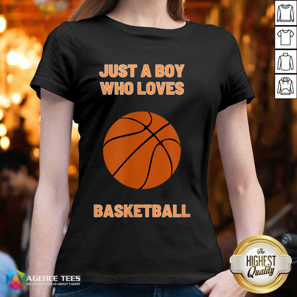 Just A Boy Who Loves 1 Basketball V-neck - Design by Agencetees.com