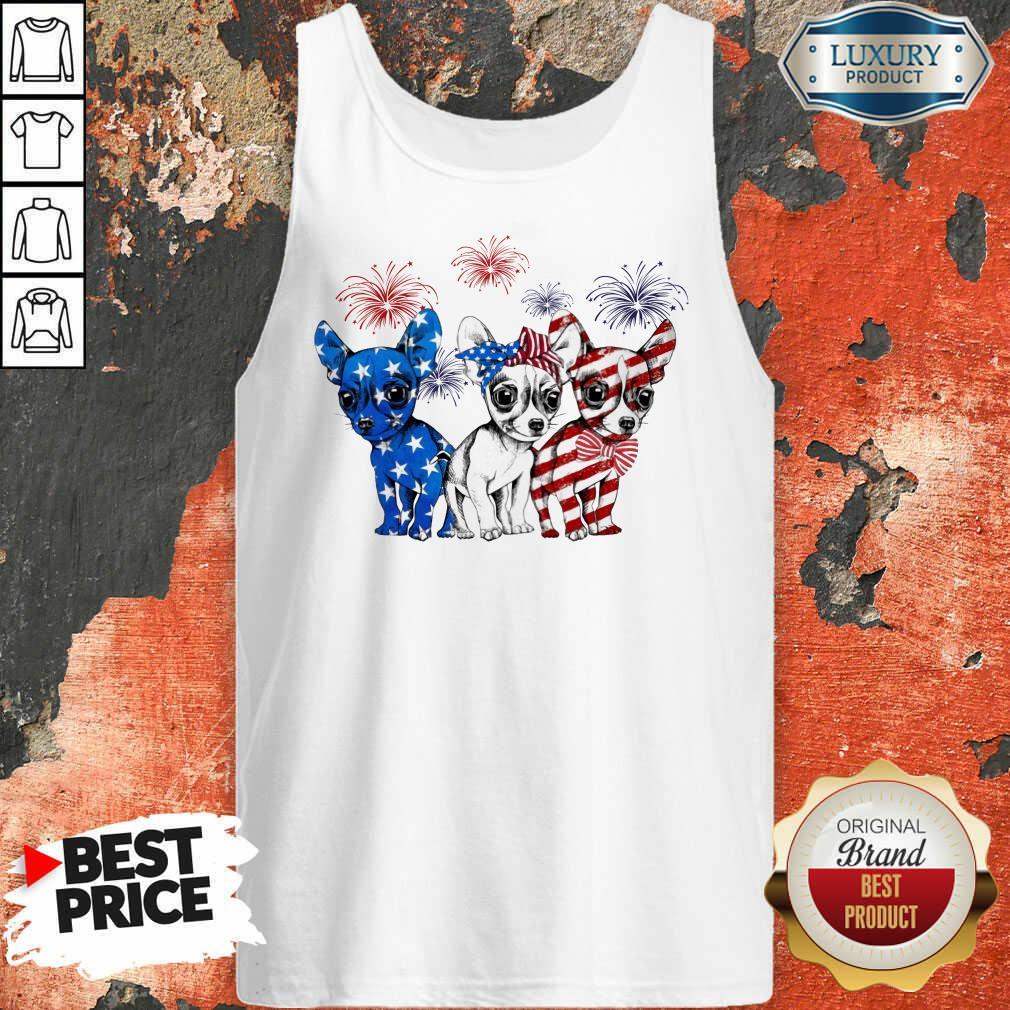 I Love Chihuahua American Flag Tank Top