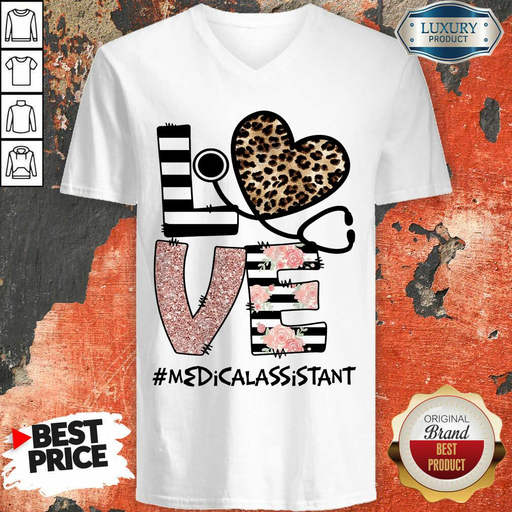 Love Leopard Medical Stethoscope Medical Assistant V-neck