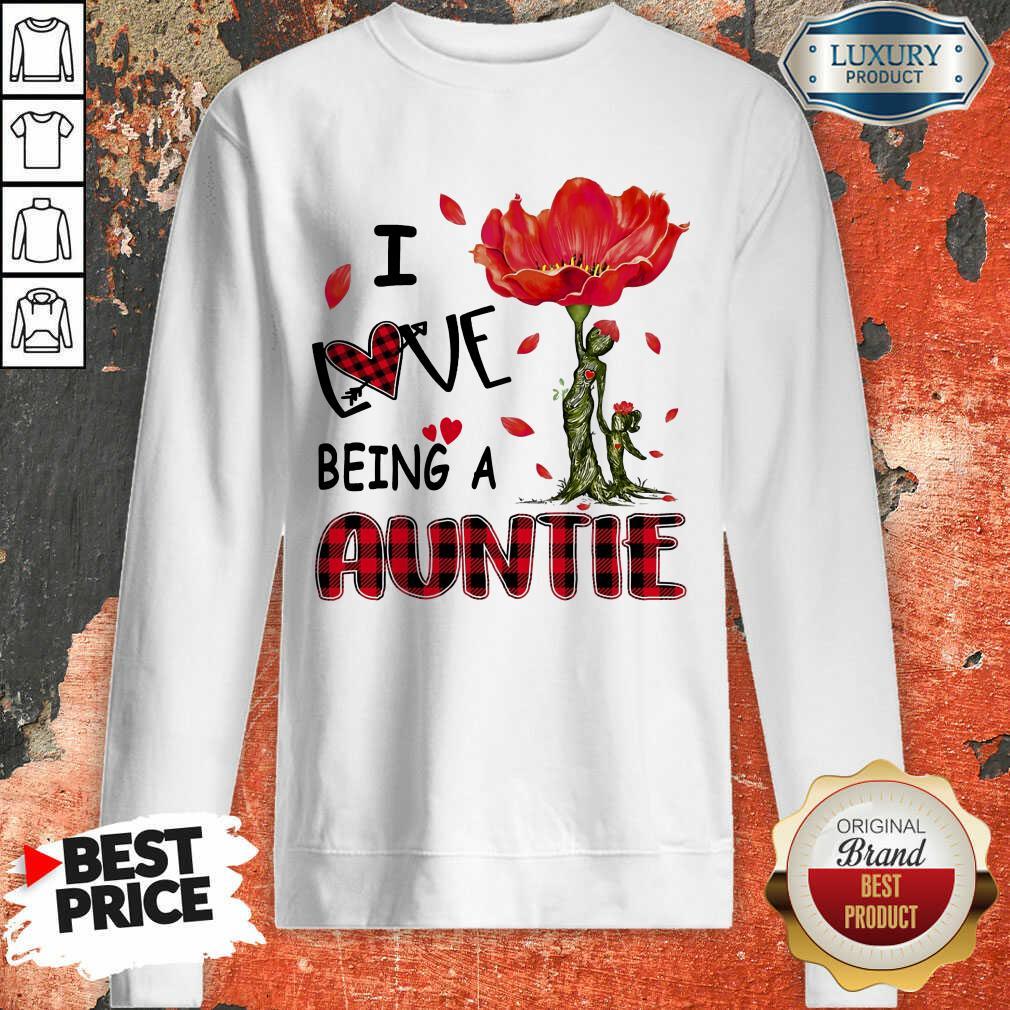 Red Flower I Love Being An Auntie Sweatshirt