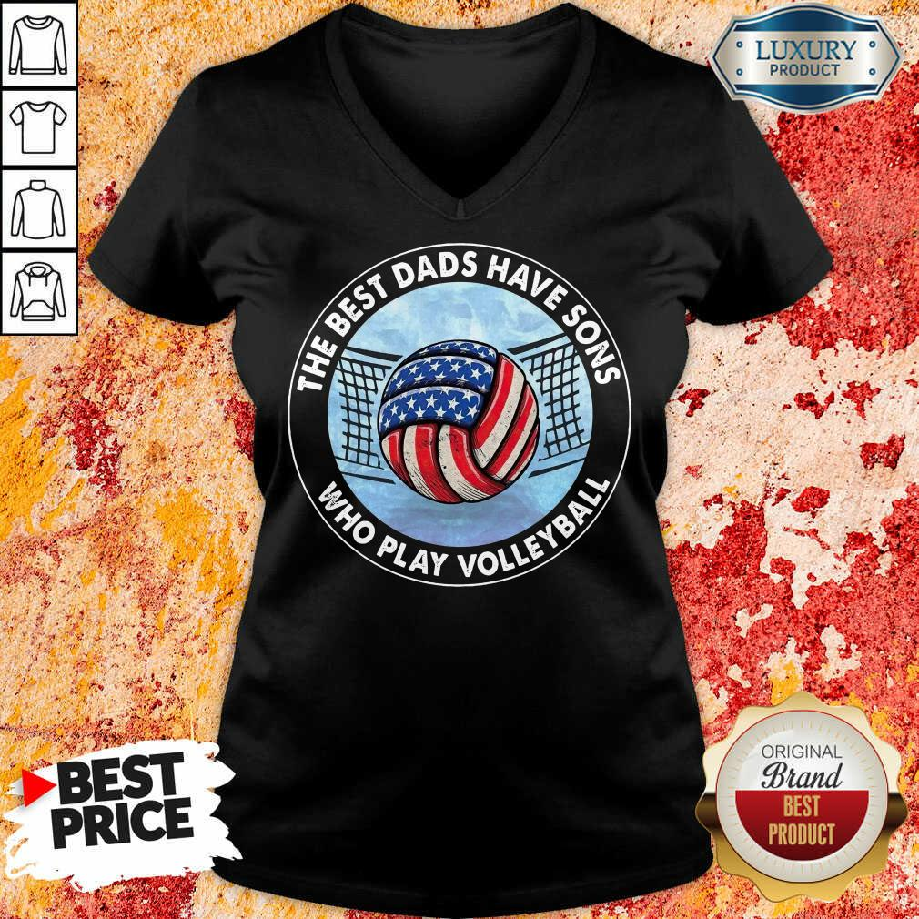 The Best Dad Sons Volleyball V-neck