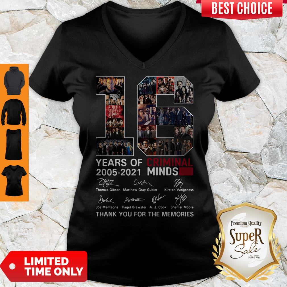 16 Years Of Criminal Minds 2005 2021 Thank You For The Memories V-neck