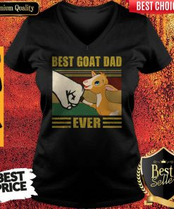 Funny Beat Goat Dad Ever Vintage Father's Day V-neck
