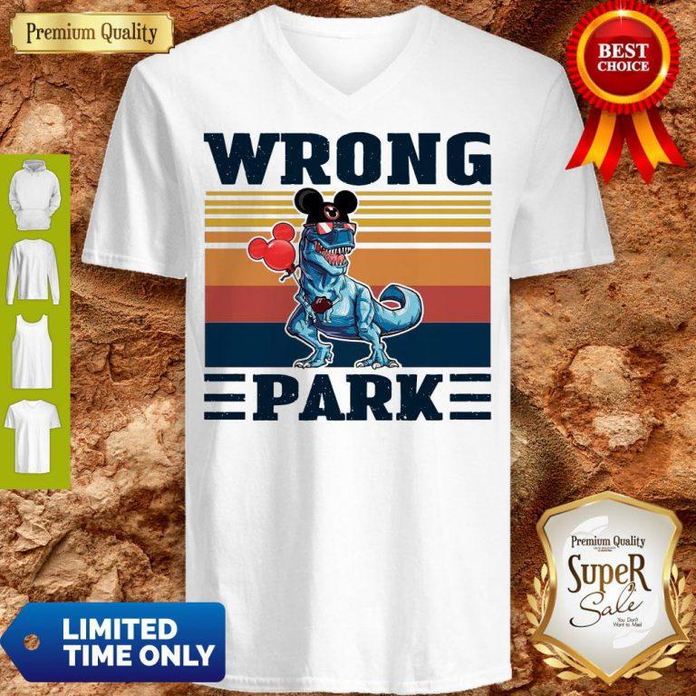 Funny Dinosaur T Rex Mickey Wrong Park Vintage V-neck