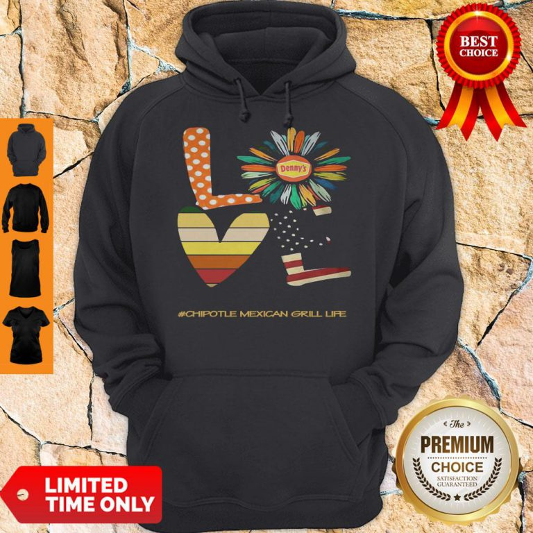 Funny Love Chipotle Mexican Grill Life Flower American Flag Vintage Hoodie