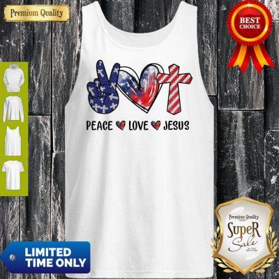Funny Peace Love Jesus Diamond Tank Top