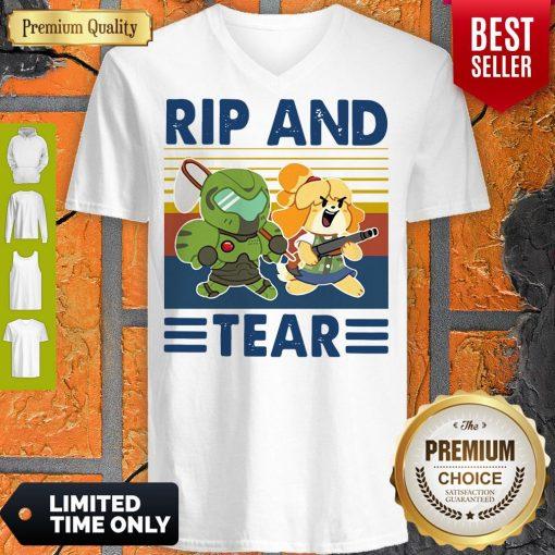 Funny Rip And Tear Vintage V-neck