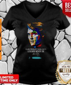 Nice Elvis Presley 1935 1977 Legends Never Die To Jimmi Signature Art V-neck