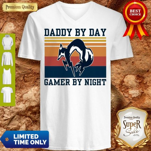 Nice Foxhound Daddy By Day Gamer By Night Vintage V-neck