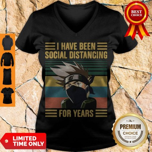 Nice Kakashi Hatake I Have Been Social Distancing For Years Vintage V-neck