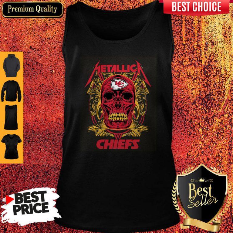 Nice Skull Metallica Kansas City Chiefs Tank Top