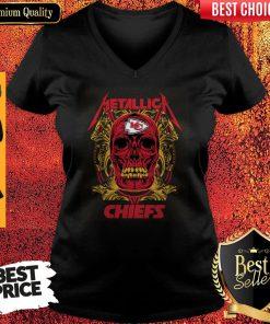 Nice Skull Metallica Kansas City Chiefs V-neck